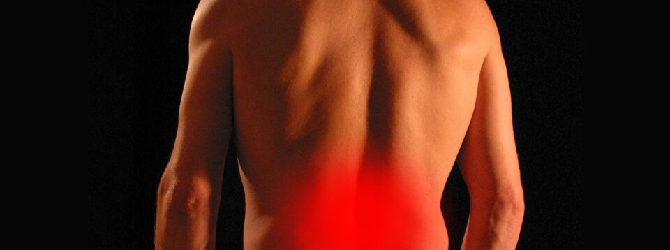 Man with herniated disc and lower back pain